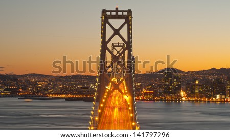 Bay Bridge with San Francisco skyline in the background - stock photo