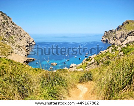 Bay Cala Figuera, Majorca, Spain - path to the beach