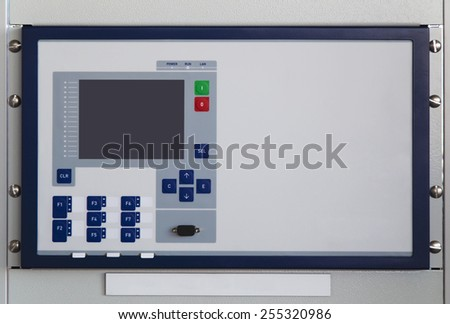 Bay control unit mounted on command panel - stock photo