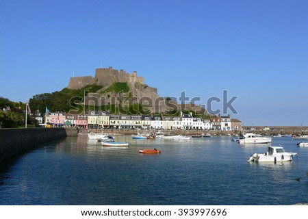 Bay in front of castle on the Isle of Jersey