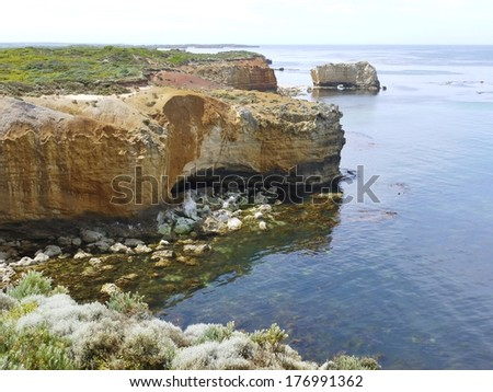 Bay of islands coastal park at the great Ocean road near Warrnambool in Victoria in Australia - stock photo