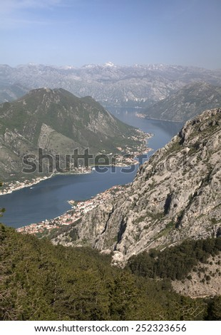Bay of Kotor, Montenegro, on a summer day, view from above - stock photo