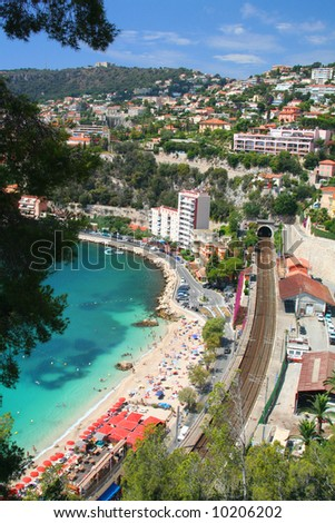 Bay of Villefranche-sur-mer in the Cote d'Azur in France. - stock photo