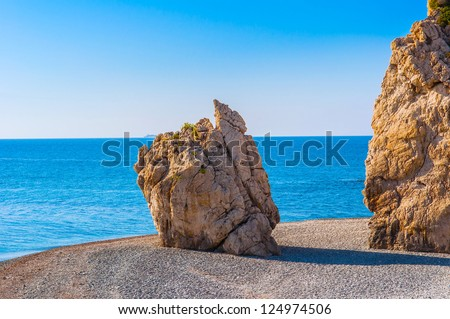 Bay on the island of Cyprus with the legendary rock of Aphrodite - stock photo