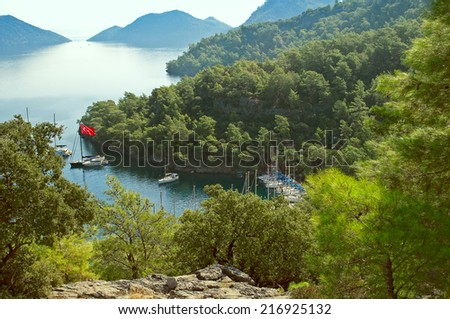 Bay Sarsala in Turkey. View from the bird's-eye view - stock photo