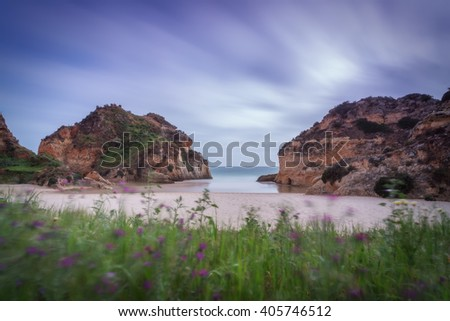 Bay Seascape in a long exposure. The grass in the foreground. - stock photo