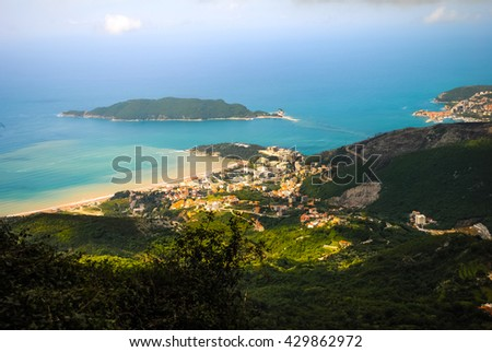 Bay View from the fortress in Kotor - stock photo