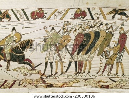 Bayeux Tapestry, 1066-1077, Tapestry divided in scenes depicting the conquest of England by the Normands (1066), Detail with the English army of King Edward III, Romanesque art, Tapestry,