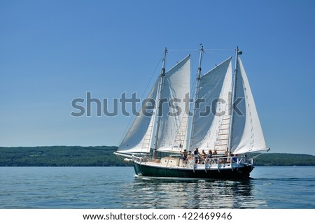 BAYFIELD, WI - July 7 2012: Schooner Sailboat Sailing on a Beautiful Summer Day - stock photo