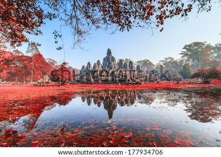 Bayon Castle, Cambodia. With red leaf tree - stock photo
