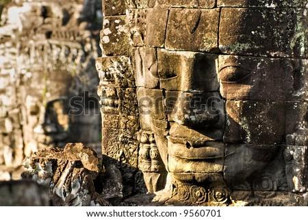 Bayon Faces, Angkor Thom, Cambodia. - stock photo