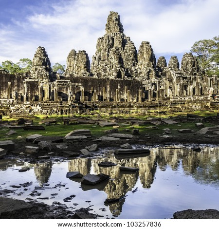 Bayon temple in the afternoon sun, Angkor Wat, near Siem Reap, Cambodia, South East Asia. - stock photo