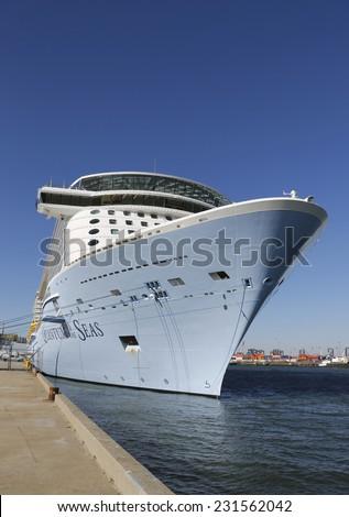 BAYONNE, NEW JERSEY - NOVEMBER 18: Newest Royal Caribbean Cruise Ship Quantum of the Seas docked at Cape Liberty Cruise Port before inaugural voyage on November 18, 2014.  - stock photo