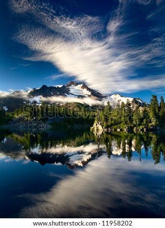 Bays Lake Mount Jefferson - stock photo