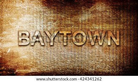 baytown, 3D rendering, text on a metal background