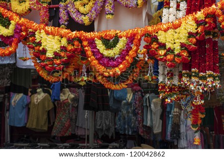 Bazaar in Little Indian District in Singapore - stock photo