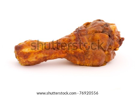 BBQ chicken drumstick on a white background - stock photo