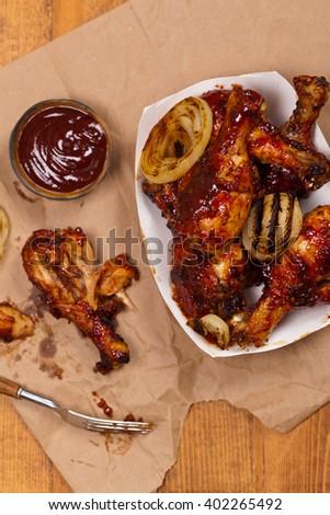 BBQ Chicken Drumsticks. Selective focus. - stock photo