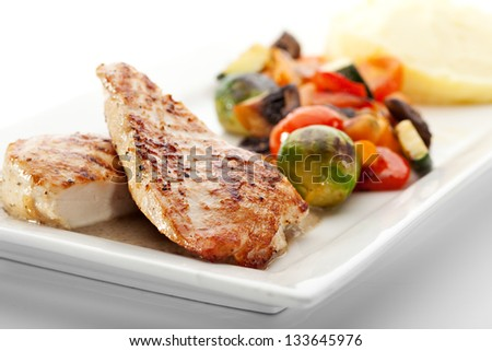 BBQ Chicken with Mashed Potato and Vegetables - stock photo