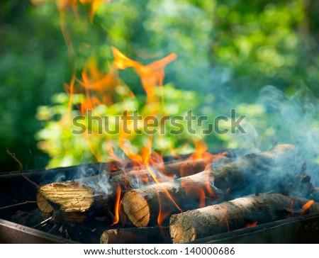 BBQ Fire outdoor. Bonfire closeup - stock photo