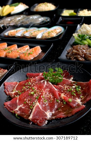 BBQ Fresh Beef pork slices, Seafood and Vegetable, BBQ Dinner Set