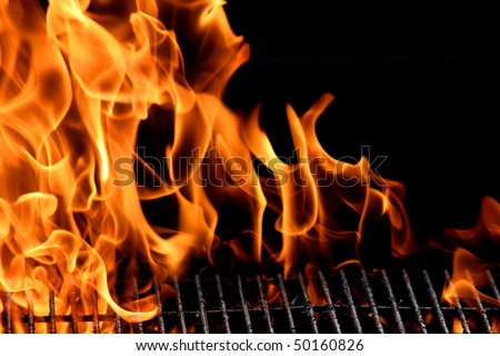 bbq grill flame, hot burning grill, outdoors - stock photo
