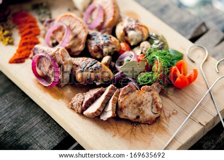 BBQ grill on a sunny day - stock photo