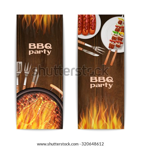 Bbq grill party vertical banners set with realistic hot fried on fire food isolated  illustration - stock photo