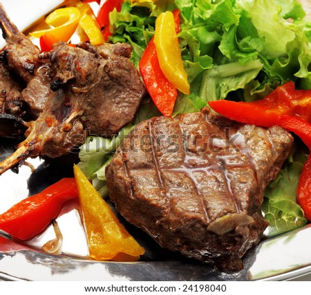 BBQ Meat with Vegetables and Greens - stock photo