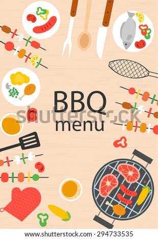 bbq grill menu design template illustration stock illustration