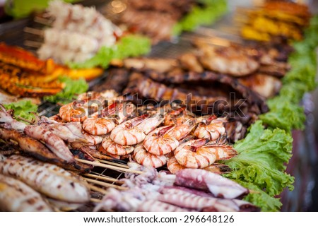 BBQ prawn barbeque skewer. Traditional thai cuisine. - stock photo