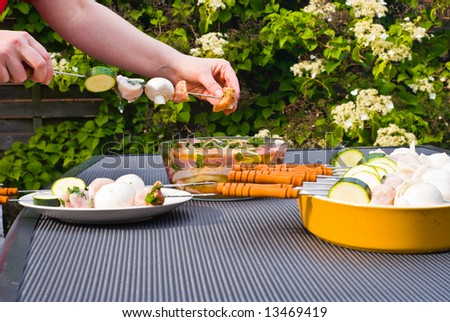 BBQ. Preparing raw material for cooking. - stock photo
