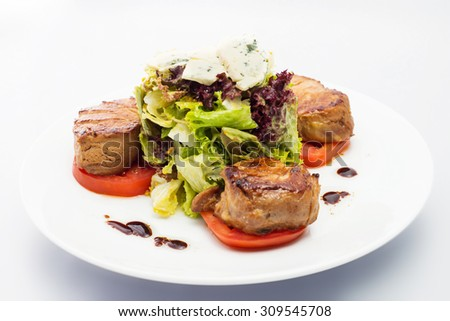 BBQ Steak Barbecue Grilled Beef Meat With Vegetables Healthy Food Dinner
