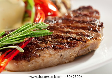 BBQ Steak with Vegetable Garnish