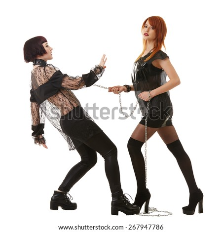 BDSM concept. Pretty girls in role-playing game - stock photo