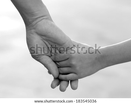 Be hand in hand , friendship and Binding , Black and white , B&W - stock photo