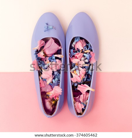 Be Romantic. Women's shoes and Flowers. Harmony Mix - stock photo