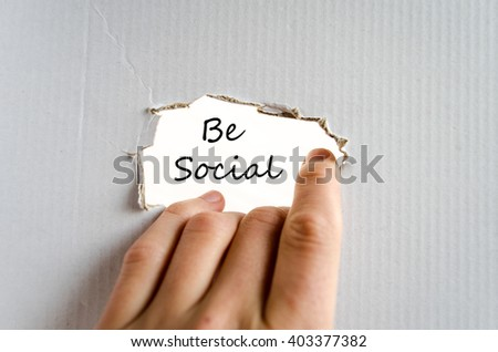 Be social text concept isolated over white background - stock photo