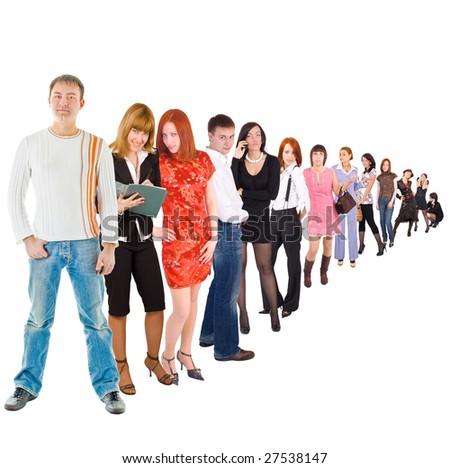 Be the first in a long queue!!! - stock photo