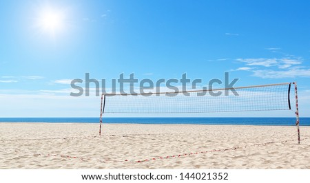 Beach a volleyball court at sea. Summer. - stock photo