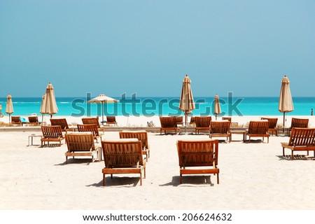Beach , Abu Dhabi, UAE - stock photo