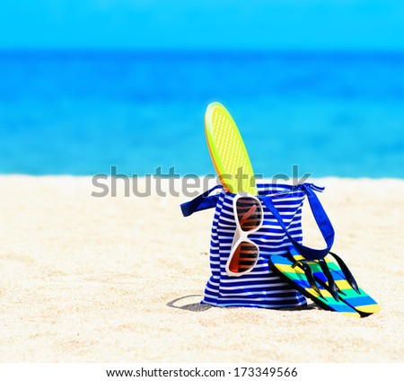 Beach accessories. Concept of summer vacations. - stock photo