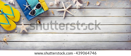 Beach Accessories On Vintage Wooden Plank - Retro Summer   - stock photo
