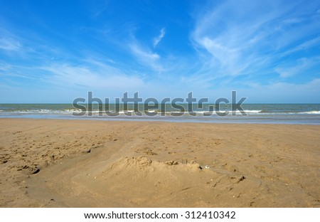 Beach along the North Sea in summer - stock photo