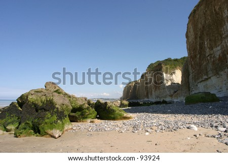 beach and cliff in normandy