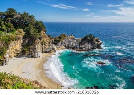 Beach and Falls, Julia Pfeiffer Beach, McWay Falls, California   - stock photo