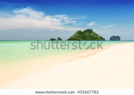 Beach and few islands in Andaman sea, Thailand - stock photo