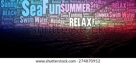Beach and Fun illustration made of Words on order to show amazing landscapes and sunset of beaches. - stock photo