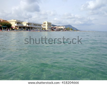 Beach and hotels on the seashore - stock photo