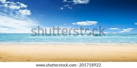 Beach and ocean. Panoramic shot - stock photo